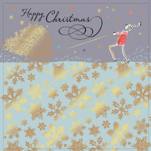 Christmas Tree with Gold Foiling, Contemporary Design and Red Envelope KIS8